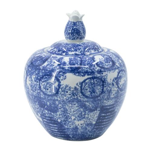 """Blue & White Porcelain Lidded Jar D7.5x10"""""""