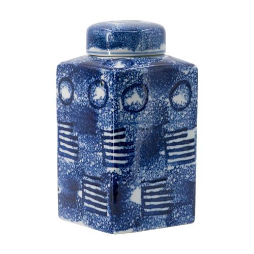 "Blue & White Porcelain Lidded Jar 5.5x5.5x10"""
