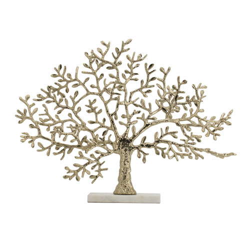 This bold decorative tree statute is made using gold-finished aluminum with a white marble base for a modern flourish. A table decor piece that stands out from the rest, its muted tones and simple design make it an understated favorite when added to a minimalist decor. Place it on your entryway table or introduce it to your dining set as part of a stylish centerpiece.