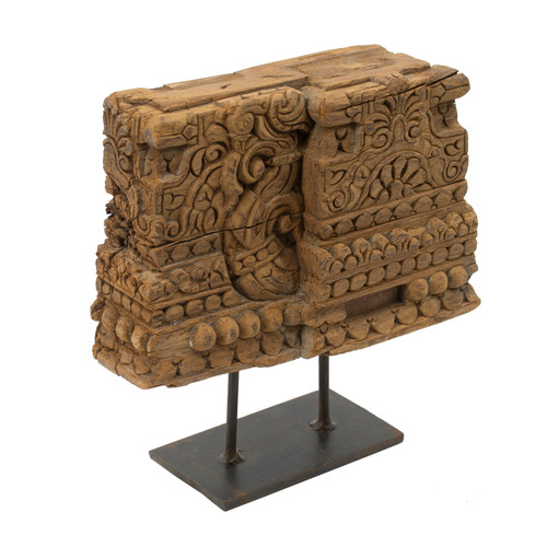 """Carved Block On Metal Stand Table Decor 13x3x13"""""""