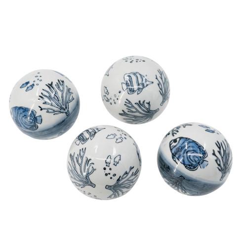 "D4"" Porcelain Decorative Balls Set Of 4"