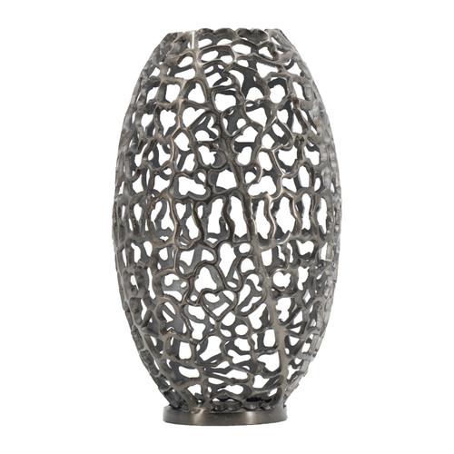 """Aluminum Coral Barrel Vase 10.5x10.5x19"""""""