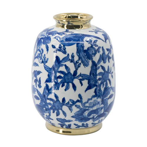 This large round vase features a white, blue, and gold finish that effortlessly complements its chinoiserie pattern. A gold trim lends lovely contrast to this design. Pair this vase with traditional decor to bring out its timeless look.