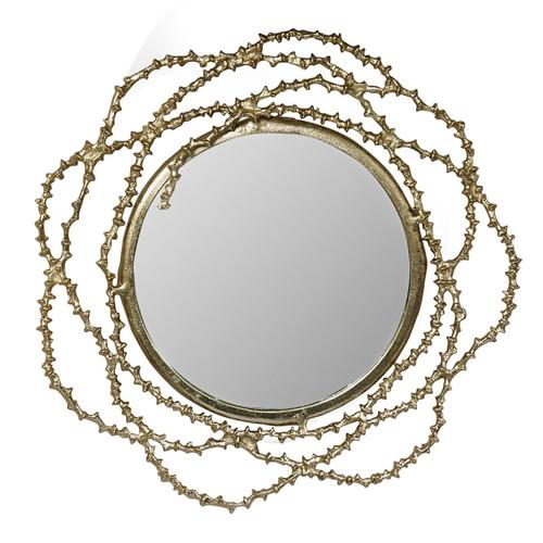 "Aluminum Wavy Design Frame Wall Mirror D33.5x3"""
