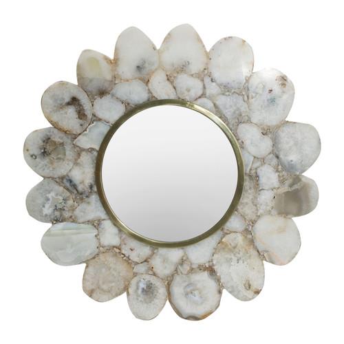 "White Agate Flower Shape Mirror D12"""
