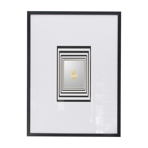 This contemporary wall art features a depth visual effect that introduces a striking look to any living room, dining room, bedroom, or office. Made with a dark wood frame and large paper mat, this art is stripped down to the basics, lending a minimal look that's both engaging and thought provoking.