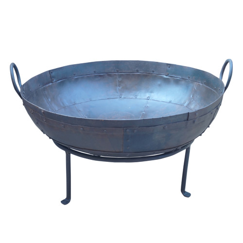Large Iron Bonfire Pit On Stand 29.5x27.5x18""