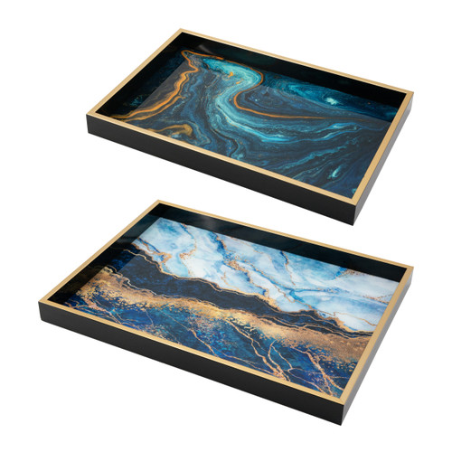 Faux Marble Rectangle Decorative Tray Set Of 2