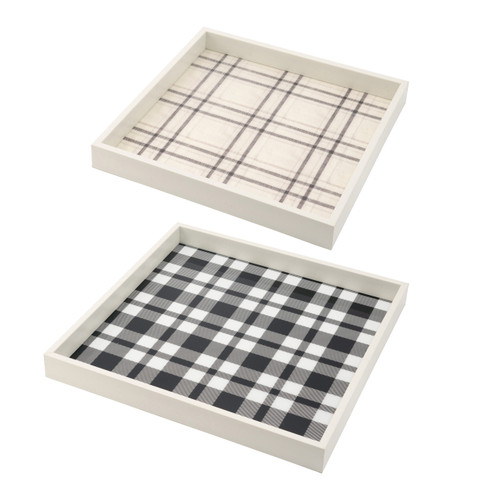 Decorative Square Black Beige Plaid Tray Set Of 2