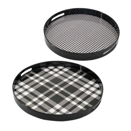 Decorative Round Black Gray Plaid Tray Set Of 2