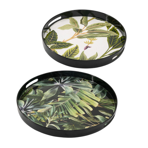 Palm Pattern Round Decorative Tray Set Of 2