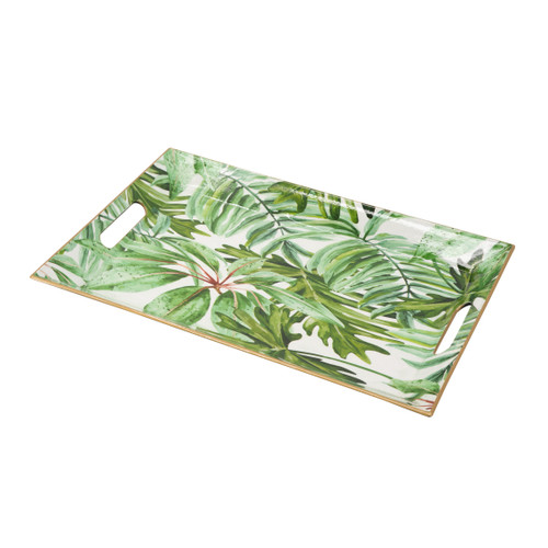 Palm Leaf Rectangle Decorative Tray 18x12x1.5""