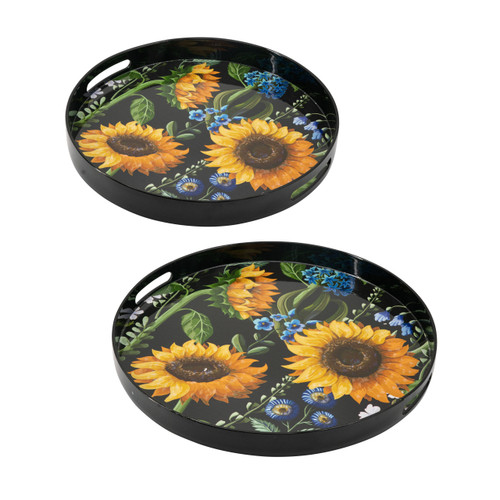 Sunflower Round Decorative Tray Set Of 2