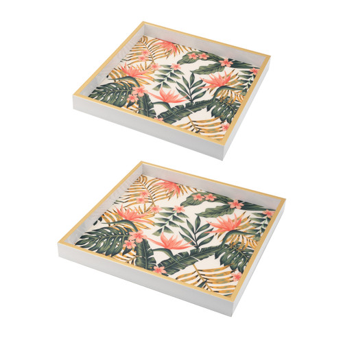 Floral Pattern Square Decorative Tray Set Of 2