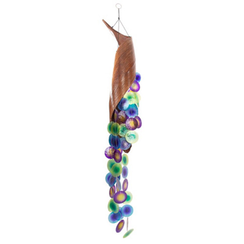 Peacock Colored Capiz And Leaf Wind Chime