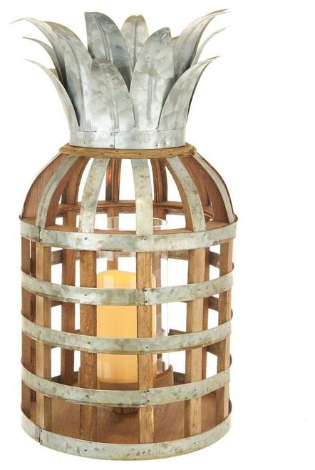 "17.5"" Samana Pineapple Wood And Metal Lantern With Led Candle"
