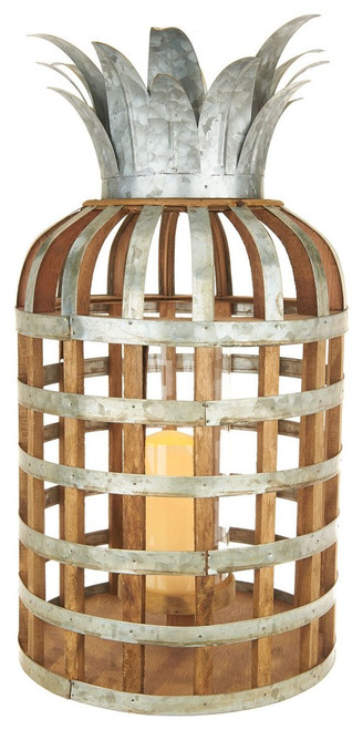 "21.5"" Samana Pineapple Wood and Metal Lantern With LED Candle"