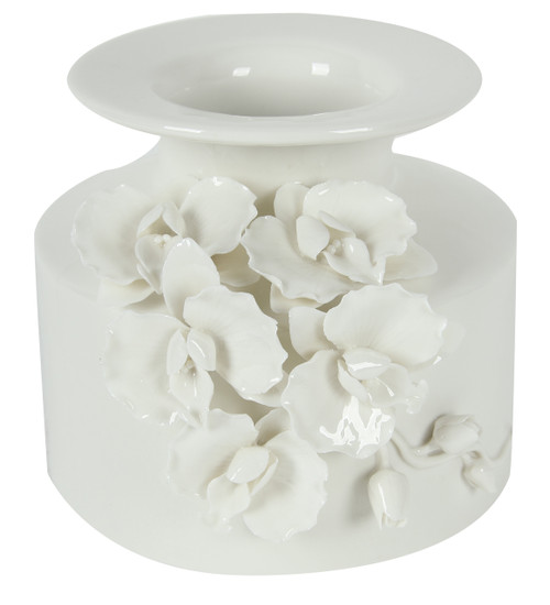 """Ceramic Vase With Sculpted Floral, 7.6""""X7.2""""X6.2"""""""