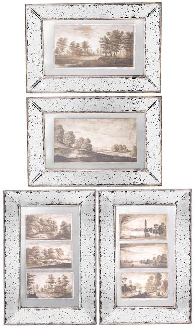 Antiqued Mirror Frame Glass Wall Art V, Set Of 4