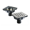 "Side view ACO 6"" square Shower Point Drain  with Hawaii locking grate"