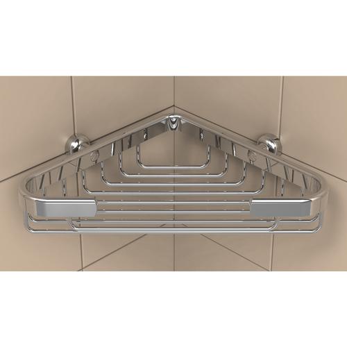 TileWare Shallow Corner Basket (T100-003) in Polished Chrome