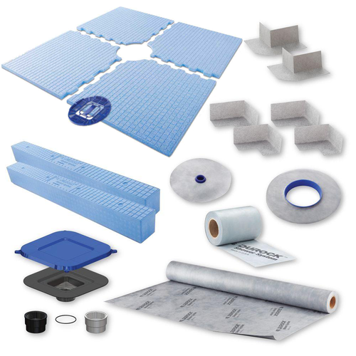 """Complete 72"""" x 72"""" Durock kit easy to install waterproofing kit, with center drain."""