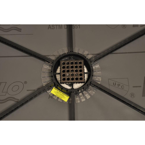 """Quick Pitch with 6"""" Universal Center Ring and EBBE drain assembly and 4"""" square grate cover"""