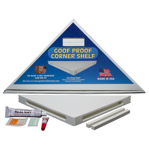 Corner shelf with installation kit