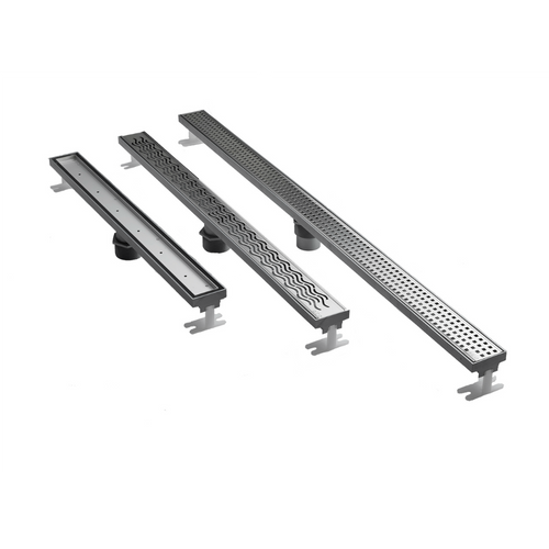"ACO Q-Plus  Linear Drain is available in three lengths (27"", 36"", and 48"") and with three grate styles."