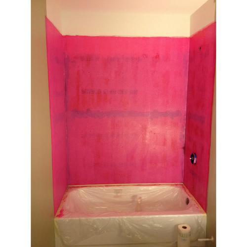 RedGard applied to bathtub walls