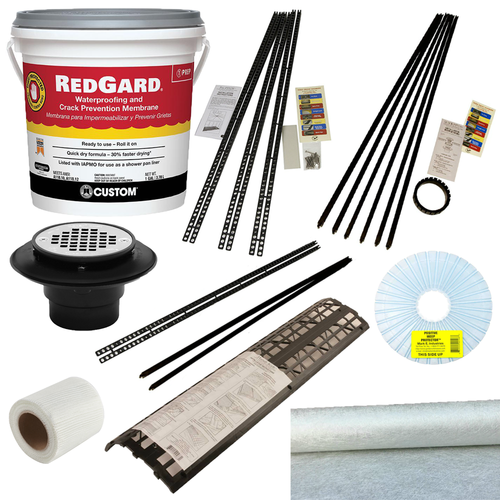 Red Gard Roll On Membrane kit with Handi Kirb with Oatey ABS 3 piece drain