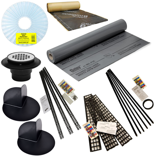 Oatey PVC 40 mil Shower Liner Kit with Goof Proof slope systems, PVC drain and Kirb-Perfect