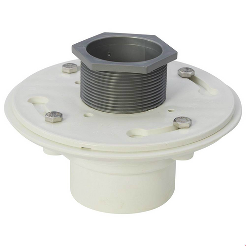 ACO Friction Fit Drain Assembly shown with 4 hex bolts and grey pvc friction fit collar