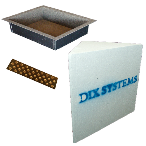 "Innovis Recess-It 14"" x 18"" Niche (REC1418) and floating shelf (RECSHELF) with Dix Systems Solid Corner Bench (DSSC-16)"