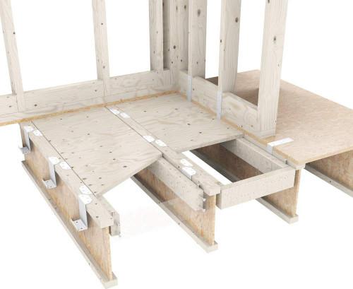 Cut away of bathroom floor with subfloor lowering kit installed