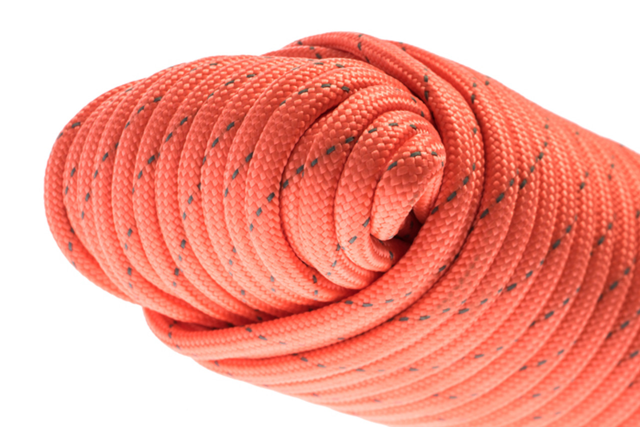 """100' Paracord 7 Strand (Orange W/ Reflective Tracer), Rated 550 LBS. 5/32"""""""