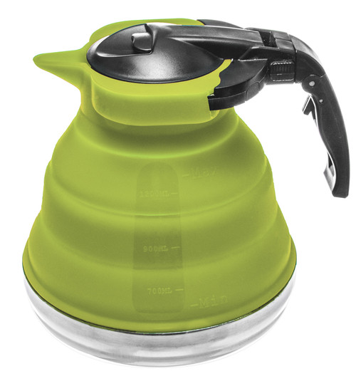 5 Cup Collapsible Silicone Stainless Steel Base Kettle-Green color