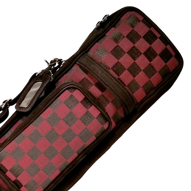 Instroke Soft Burgundy Horse Hair Pool Cue Case - 4x8 - Detail