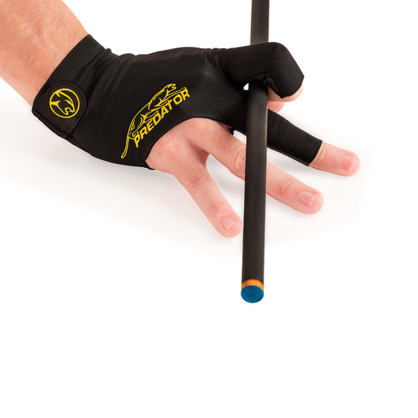 Predator Second Skin Pool Glove - Black and Yellow - Right Hand - With Cue
