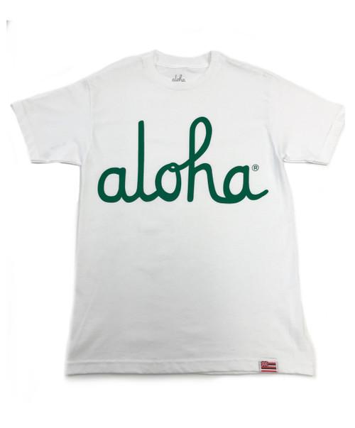 Aloha Script Tee - WHITE