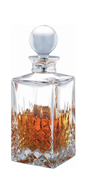 Crystal & Sterling Cut Square Decanter