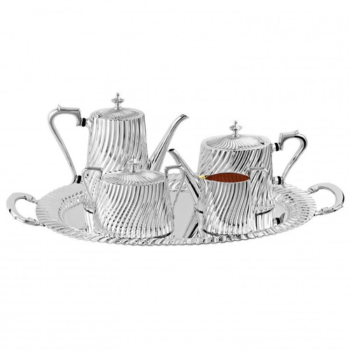 Spiral Fluted Tea & Coffee Service in Silverplate Full Set