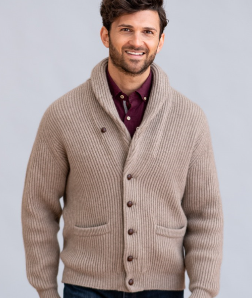 Four-Ply Cashmere Shawl Collar Cardigan in Dark Natural