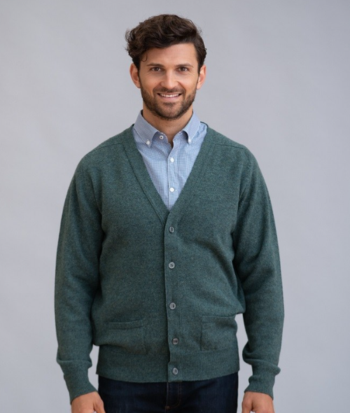 Two-Ply Lambswool Cardigan With Saddle Shoulder in Lovat