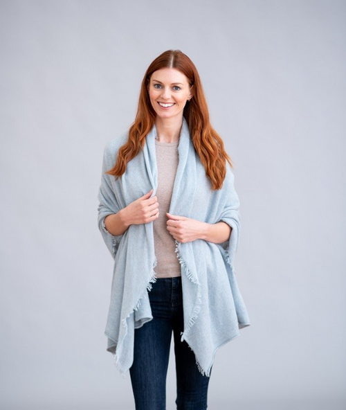 One-Ply Cashmere Fringe Stole in Haar