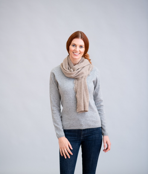One-Ply Cashmere Fringe Scarf in Dark Natural