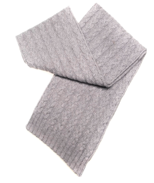 Three-Ply Cashmere Cable Scarf in Flannel