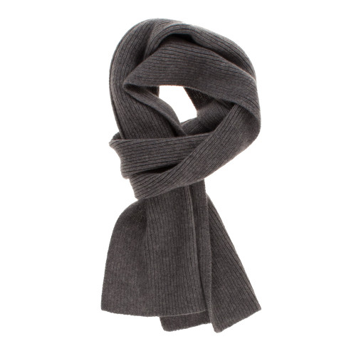 Three-Ply Cashmere Ribbed Scarf in Derby Grey