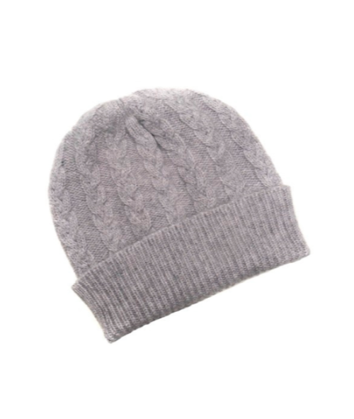 Three-Ply Cashmere Cable Hat in Flannel