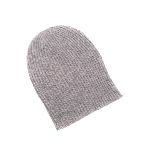 Three-Ply Cashmere Ribbed Hat in Flannel